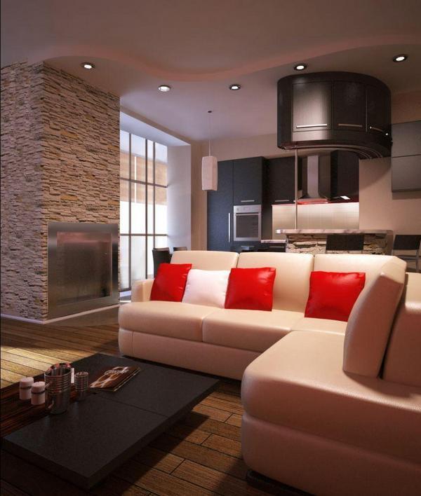 Зонирование кухни и гостиной с помощью дивана