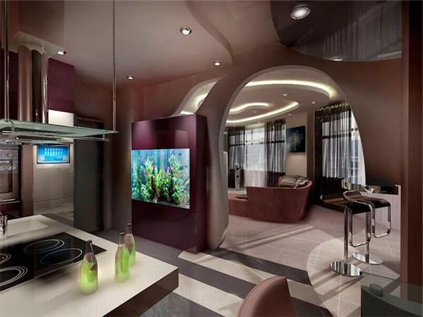 Зонирование кухни и гостиной с помощью арки