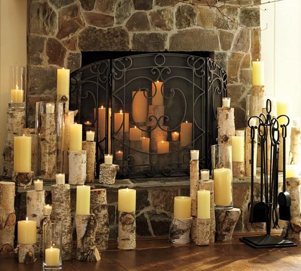 Фальш-камин со свечами фото