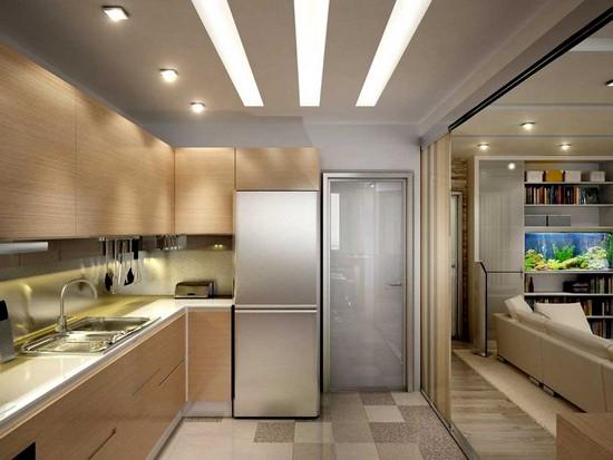 Малогабаритная кухня совмещенная с гостиной