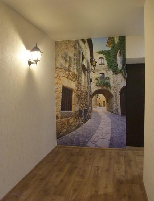 Обои с реалистичным изображением в коридор
