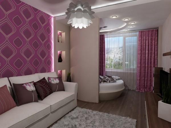 Зонирование гостиной и спальни