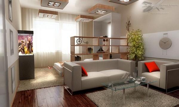 Зонирование гостиной и спальни с помощью стеллажей