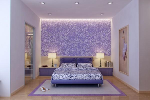 Акцент на одну стену в спальне