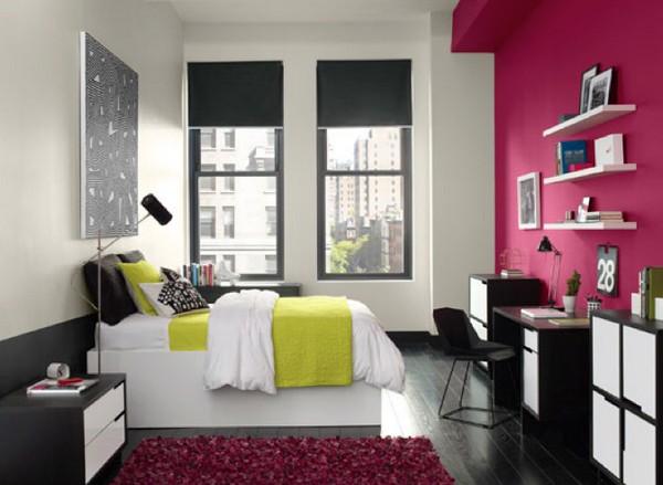 Розовая акцентная стена в интерьере фото