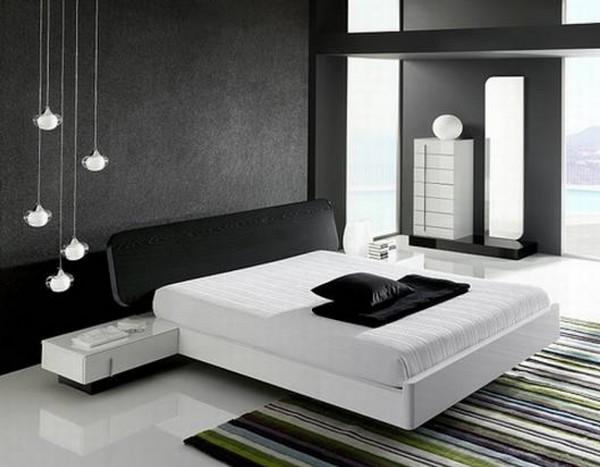 Черные обои и белая кровать