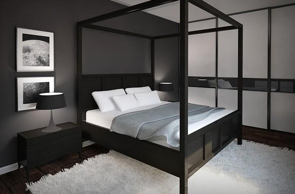 Черные обои в спальне фото