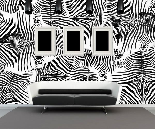 Черно-белые обои зебра