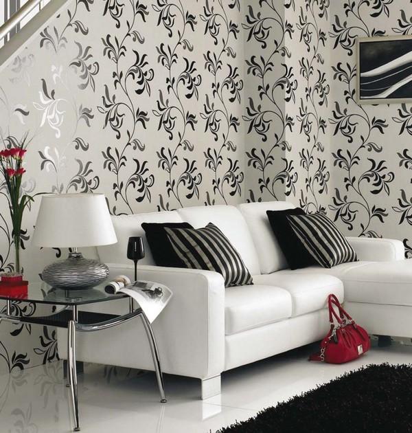Черно-белые обои с цветами