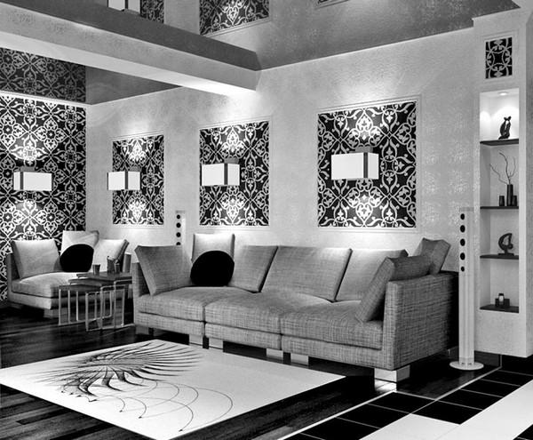 дизайн гостиной с черными обоями