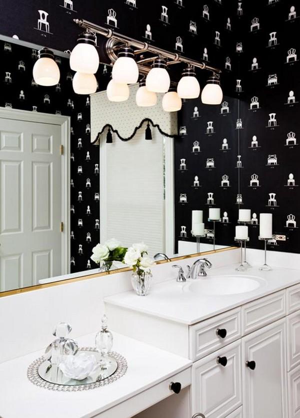 Черные обои в интерьере ванной