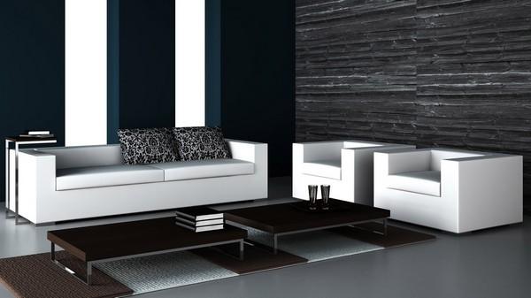 Черные обои и белый диван с креслами
