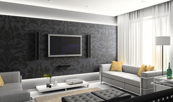 Черные обои на стене с телевизором
