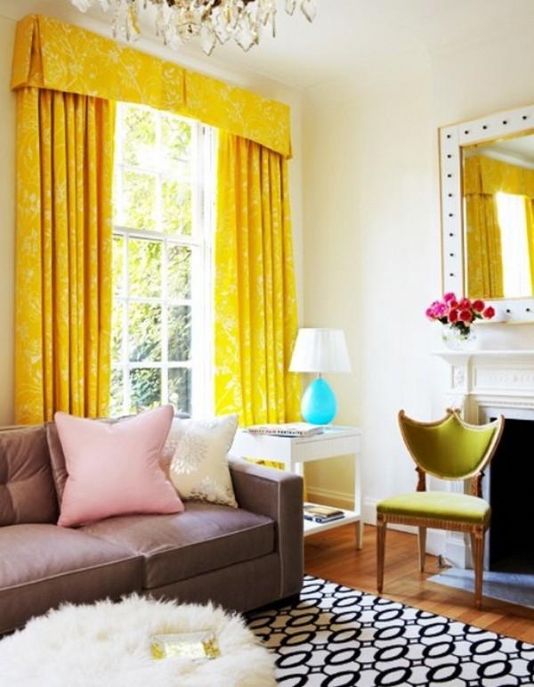 Красивые желтые шторы для спальни фото