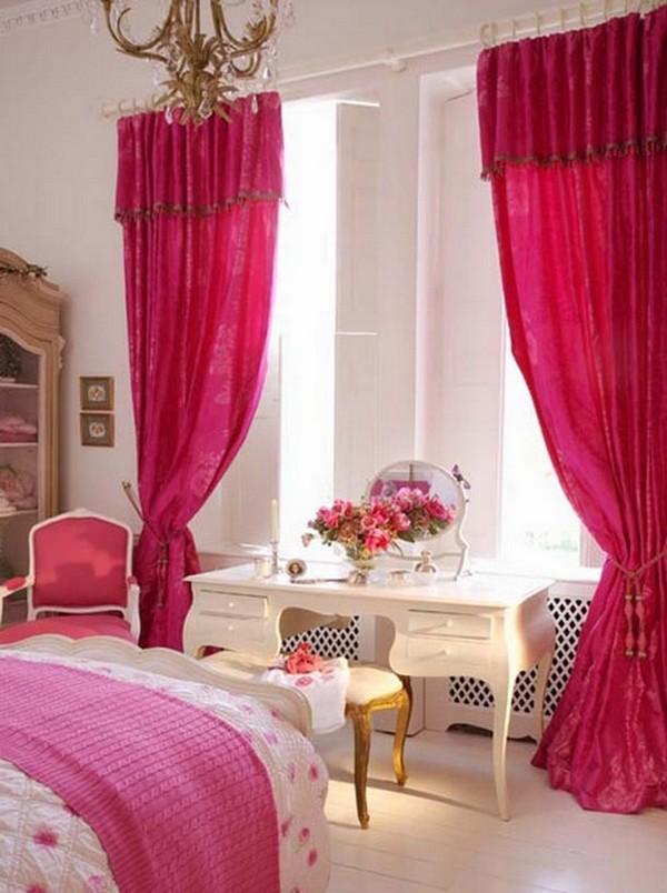 Красные шторы для спальни фото