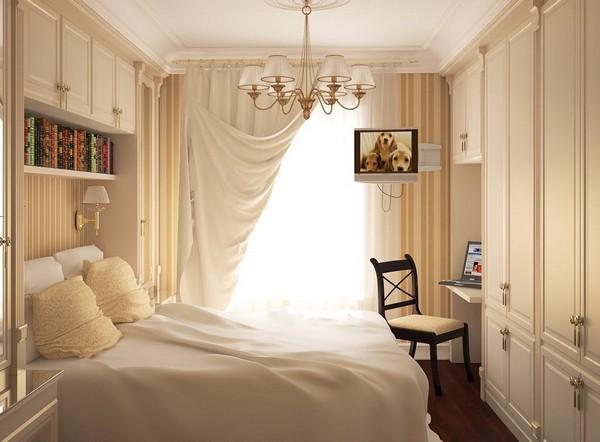 Светлые шторы для маленькой спальни