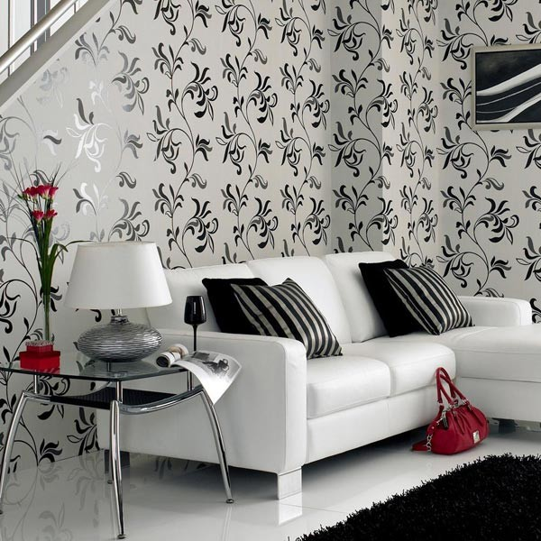 Черно-белые велюровые обои фото