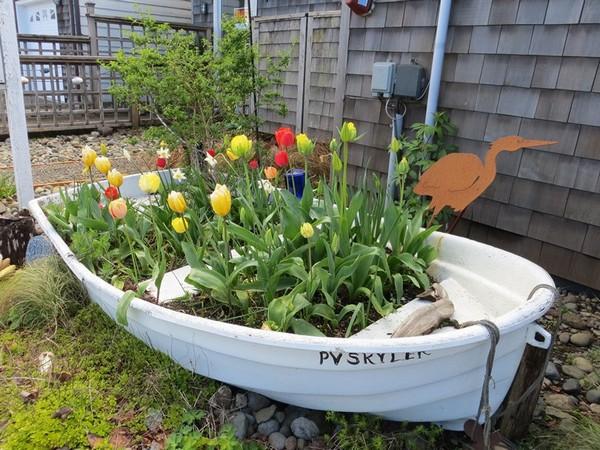 Цветник в лодке фото