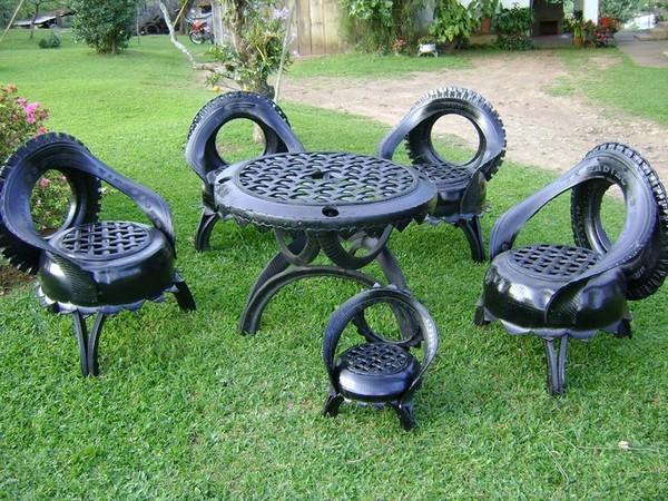 Садовая мебель из автомобильных покрышек фото