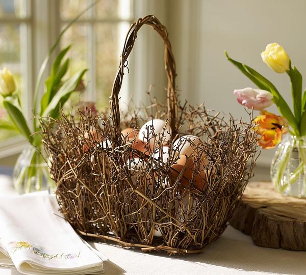 Декоративная пасхальная корзинка фото