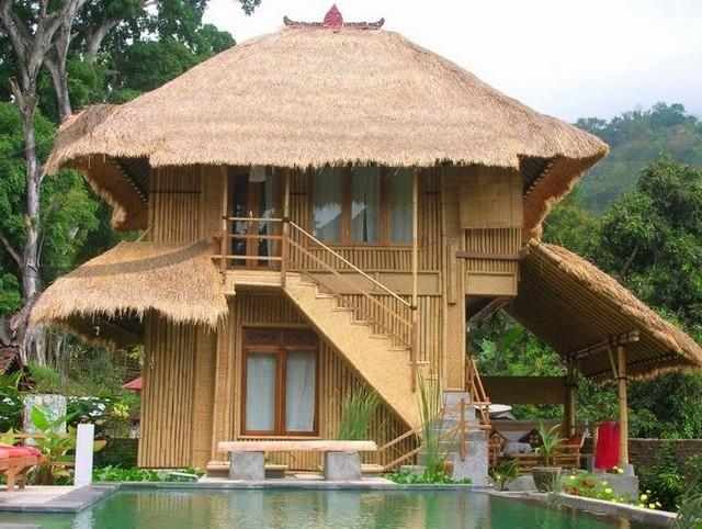 Дом из бамбука с бассейном