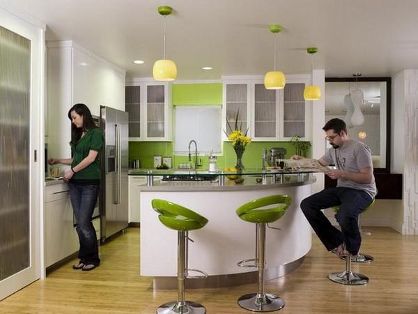 Кухня в стиле бистро с барной стойкой