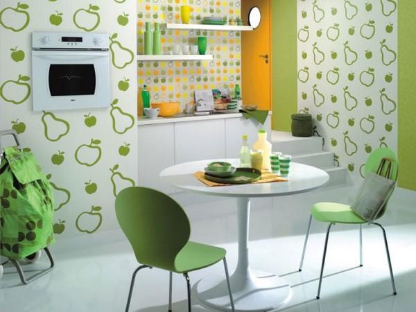 Зеленая кухня в стиле кафе быстрого питания
