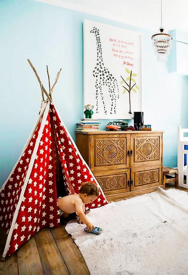 Как сделать ребенку шалаш в детской комнате