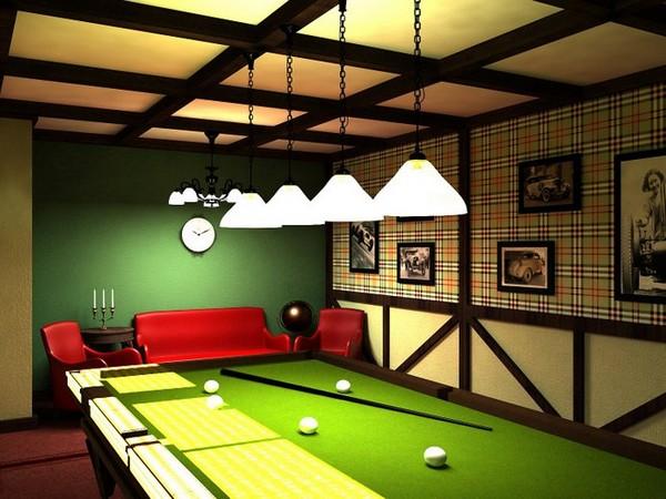 Дизайн бильярдной комнаты в цокольном этаже