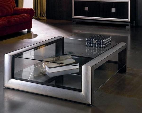 Современный журнальный столик со стеклом