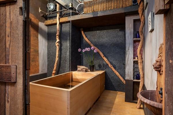 Ванная комната в стиле индастриал и этно