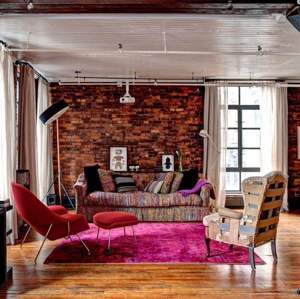 интерьеры квартир в винтажно индустриальном стиле