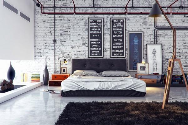 спальня в индустриальном стиле