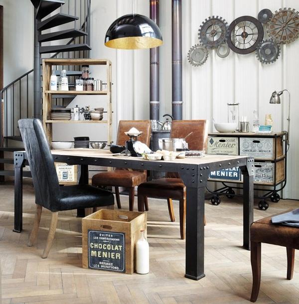 Интерьер двухуровневой квартиры в индустриальном стиле
