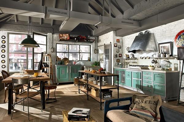 Кухня в доме в стиле индастриал