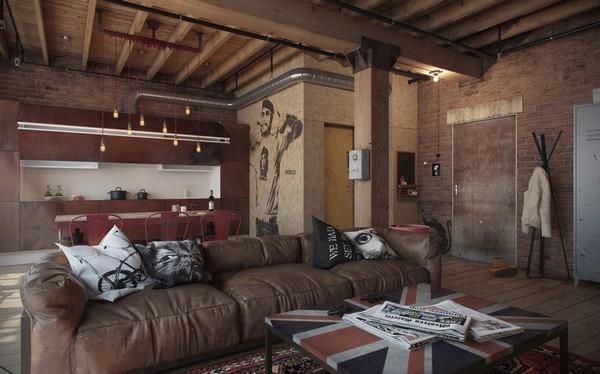 Квартира-студия в стиле индастриал