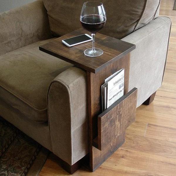 Диванный приставной столик с местом для хранения журналов и газет