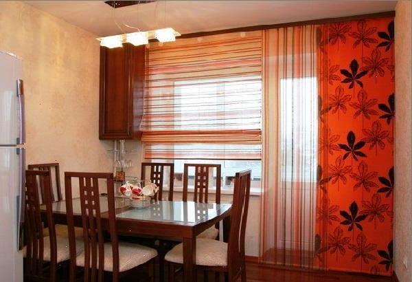 Дизайн штор для кухни с балконной дверью фото