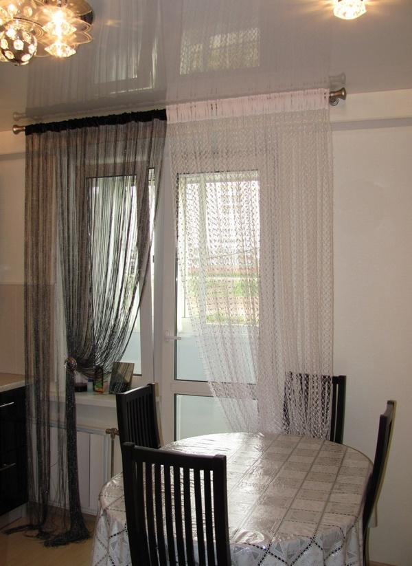 Веревочные шторы на кухню с балконом фото