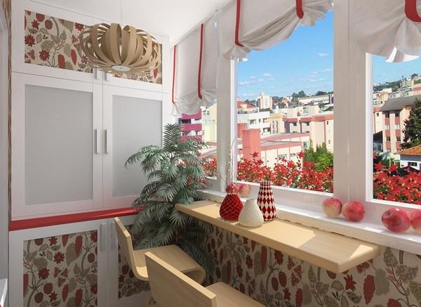 Красивое оформление штор на балконе