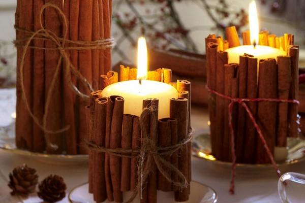 Новогоднее оформление свечами