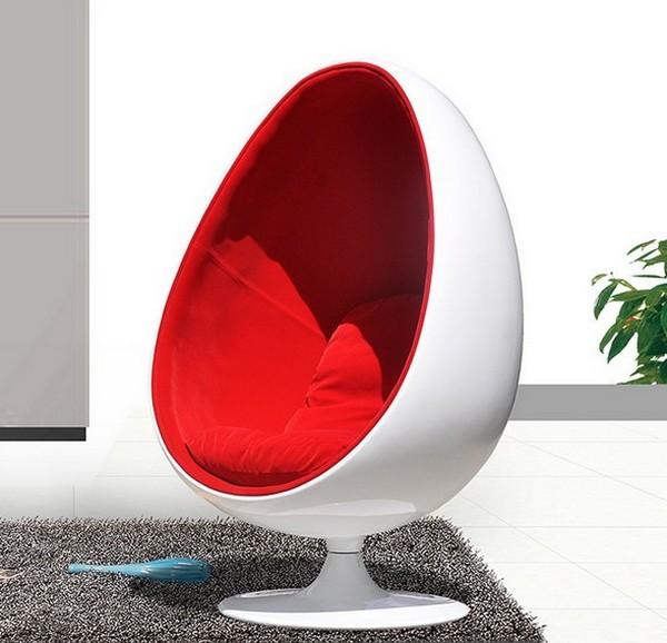 Кресло eyeball белое с красным