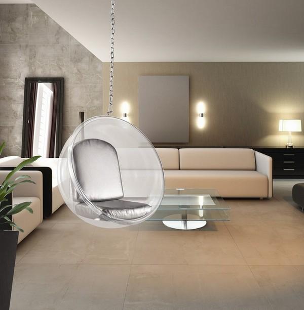 Прозрачное подвесное кресло-шар фото