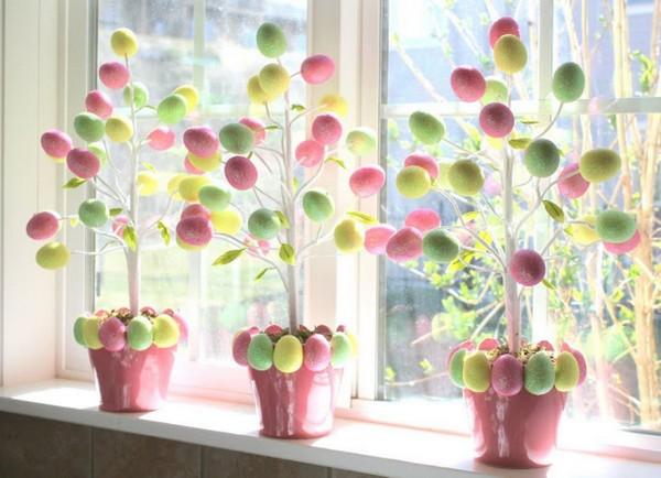 Пасхальные деревья из яиц фото