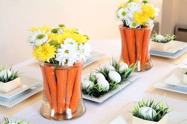 Оригинальный декор пасхального стола - вазы с морковкой