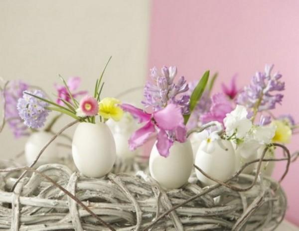 Весенние цветы в яичной скорлупе - декор к Пасхе 2016