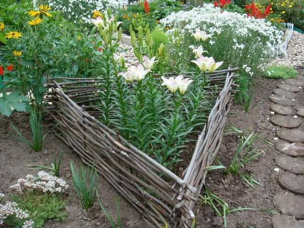 Плетеный заборчик для треугольной клумбы
