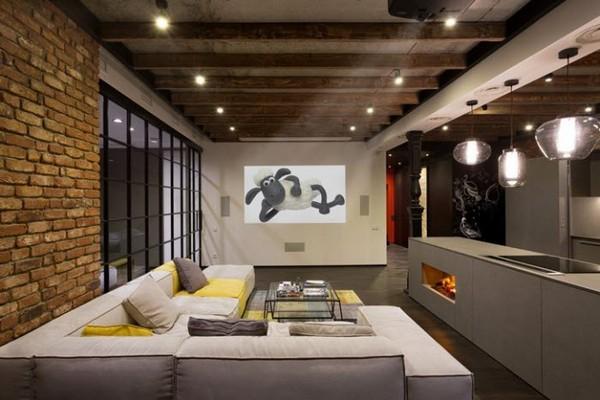 балки на потолке в квартире студии фото