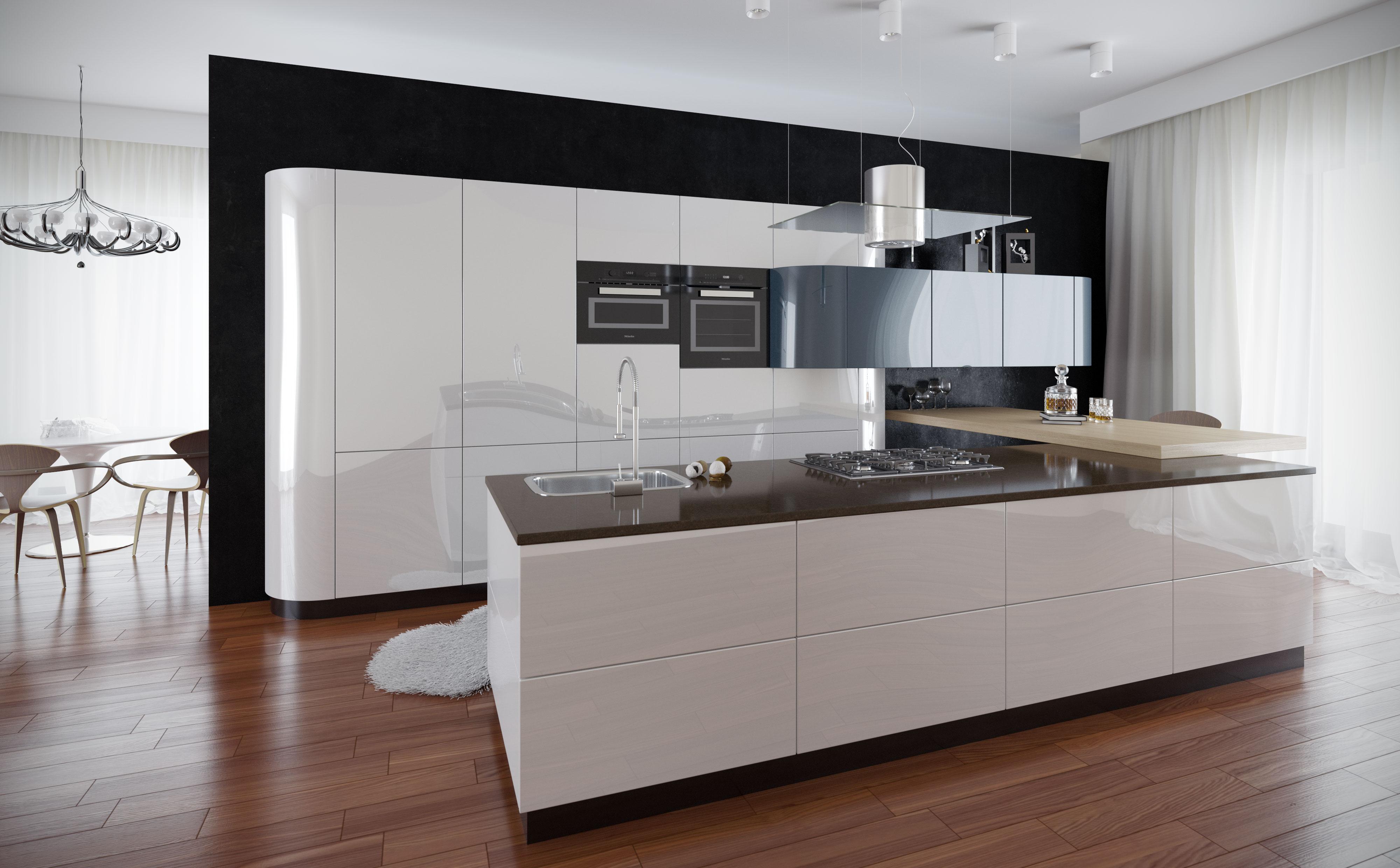 кухня с глянцевыми фасадами фото