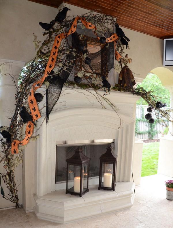 Украшение камина на Хэллоуин